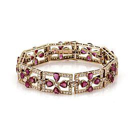 Vintage 19.50ct Diamond & Ruby 14k Rose Gold Fancy Floral Link Bracelet