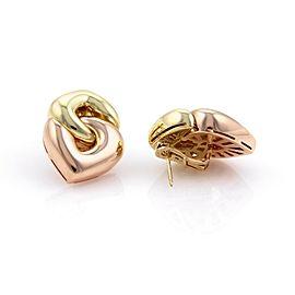 Bulgari Bvlgari 18k Rose & Yellow Gold Double Hearts Post Clip Earrings