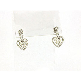 Gregg Ruth 1.74ct Diamond 18k White Gold Hearts Drop Dangle Earrings
