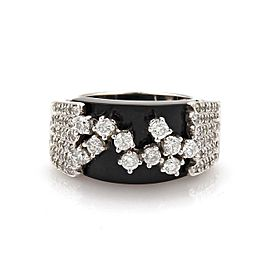 Sonia B. 1.70ct Diamond Wide Onyx 14k White Gold Fancy Band Ring Size 8.75