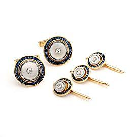 Art Deco 5.20ct Sapphire Diamond Pearl Platinum 14k Gold Cufflinks 3 Stud Set