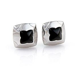 Bvlgari Bulgari Onyx 18k White Gold Floral Post Clip Earrings