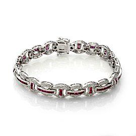 14k White Gold 5.30ct Diamond & Ruby Milgrain Fancy Link Bracelet