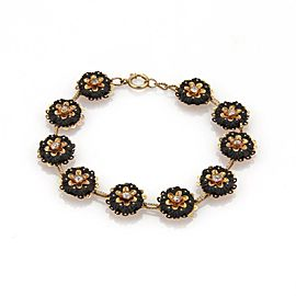 Victorian Old Mine Cut Diamond Coal Stone 18k Rose Gold Floral Link Bracelet