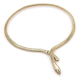 Estate Emerald & Diamond 14k Yellow Gold Tubogas Style Snake Collar Necklace
