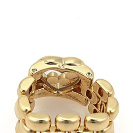 Chopard Happy Diamond 18k Yellow Gold 3 Rows Panther Link Chain Band Ring
