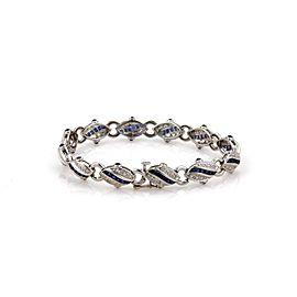 Estate 3.35ct Diamond & Sapphire 18k White Gold Fancy Link Bracelet