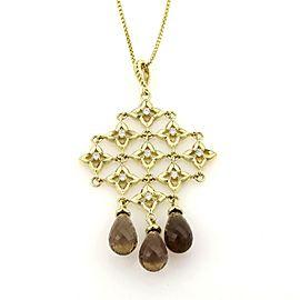 David Yurman Diamonds & Smokey Topaz Trefoil Cascade Pendant 18k Gold Necklace