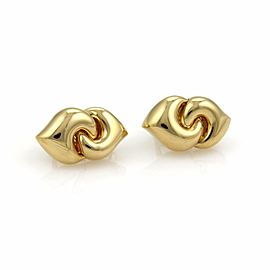 Bvlgari Bulgari 18k Yellow Gold Double Curved Hearts Post Clip Earrings