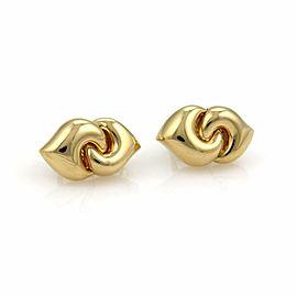 Bvlgari Bulgari 18k Yellow Gold Double Curved Hearts Post Clip Earrings