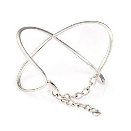 New 14K White Gold 1.65ctw Pave Diamond Crossover Bangle Bracelet