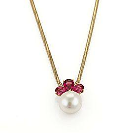 Bulgari Bulgari 1.10ct Pink Tourmaline 10mm Pearl Pendant 18k Gold Necklace