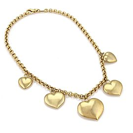 Estate Italy 14k Yellow Gold Graduated Dangle Heart Charm Fancy Necklace
