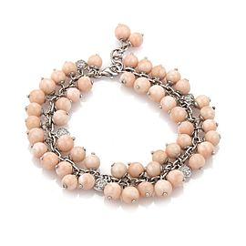 Vintage Angel Skin Coral Diamonds 18k White Gold Cluster Beaded Bracelet