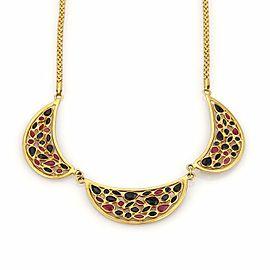 Estate 4ct Sapphire & Ruby 18k Yellow Gold Fancy Triple Pendant Necklace