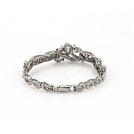 Estate 2.15ct Diamond & Silver Graduated Floral Bracelet