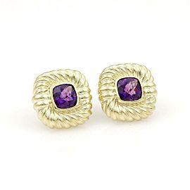 David Yurman 14k Yellow Gold 8ctw Cushion Cut Amethyst Stud Earrings