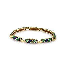 Retro 18k Yellow Gold Candy Stripe Green & Blue Enamel Bar Link Bracelet