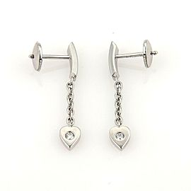 Cartier Mon Amour Diamond Hearts 18k White Gold Drop Dangle Earrings