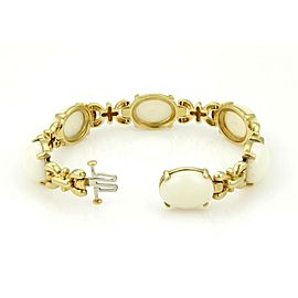 Vintage Cellino 18kt Yellow Gold Oval Cabochon White Coral Bracelet
