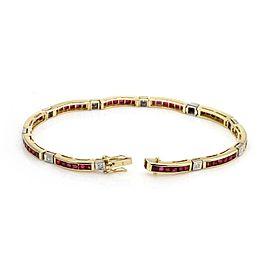 Estate 4.75ct Diamond & Ruby 18k Gold Curved Bar Link Bracelet
