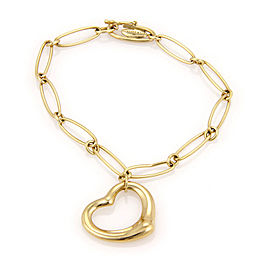 Tiffany & Co. Elsa Peretti Spain 18K Yellow Gold Open Heart Charm Bracelet