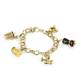 Vintage 14k Two Tone Gold Moveable Enamel 5 Charms Triple Ring Link Bracelet