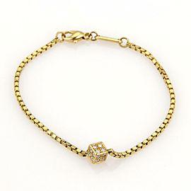 Chopard Diamonds Cube Charm 18k Yellow Gold Box Chain Bracelet