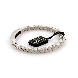 Designer Elite Diamonds 18k White Gold Woven Bar Design Bracelet Bangle