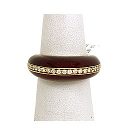 Alessandro Fanfani Diamond & Enamel 18k Yellow Gold Band Ring Size 7