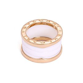 Bulgari Bulgari B Zero-1 18k Pink Gold White Ceramic 12mm Band Ring Size 49