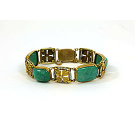 Art Nouveau Amazonite Gemstone Seed Pearls 14k Yellow Gold Floral Bracelet