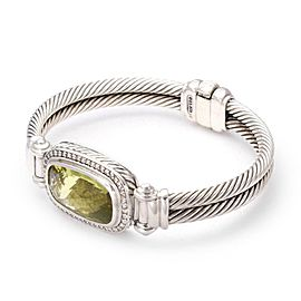 David Yurman Nobelesse Diamond Citrine Sterling Silver Cable Band Bracelet
