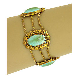 Victorian 9K Yellow Gold & Turquoise Triple Chain Link Fancy Design Bracelet