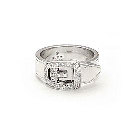 Gucci Diamond 18k White Gold Belt Buckle Band Ring Size - 4.75