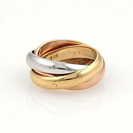 Cartier Trinity Paris 18k Tri-Color Gold 4mm Rolling Band Ring EU 47-US 4