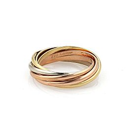 Cartier Trinity 18k Tricolor Gold 1.5mm 7 Rolling Band Ring Size 53-US 6.5