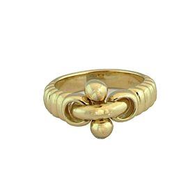 Bvlgari Bulgari 18k Yellow Gold Flex Cross Bar Design Band Ring Size 5