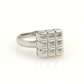 Chopard 18k White Gold Square Shape Cube Top Ring Size 4.75
