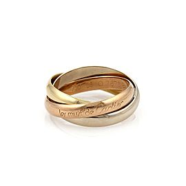 Cartier Trinity 18k Tricolor Gold 3mm Rolling Band Ring Size EU 56-US 7.5