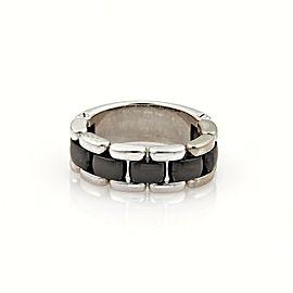 Chanel Ultra 18k White Gold & Black Ceramic Flex Chain Band Ring Size 7.5
