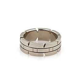 Cartier Tank Francaise 18k White Gold 6mm Band Ring Size 48-US 4.5