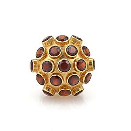 Retro Garnet 18k Yellow Gold Sputnik Dome Ring Size - 7.25