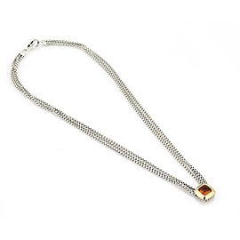 David Yurman Albion Citrine Sterling 18k Gold Pendant Triple Chain Necklace