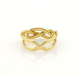 Vintage Tiffany & Co. Infinity 18k Yellow Gold Band Ring Size 4.5