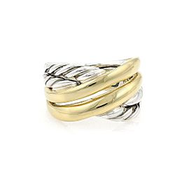 Yurman 18k Yellow Gold Sterling Cable 12.5mm Crossover Band Ring