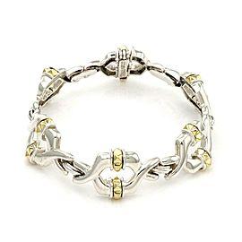 Caviar Sterling Silver 18k Yellow Gold Fancy Open Link Bracelet