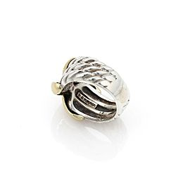 David Yurman Sterling Silver 14k Yellow Gold Cable Band X Design Ring