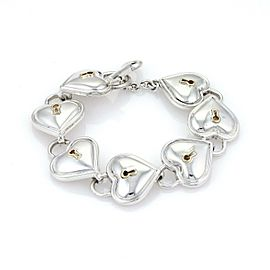 Tiffany & Co. 925 Silver 18k Yellow Gold Heart Padlock Link Key Toggle Bracelet