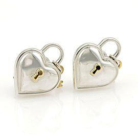 Tiffany & Co. 1994 Sterling 18k Yellow Gold Hearts Padlock & Key Earrings